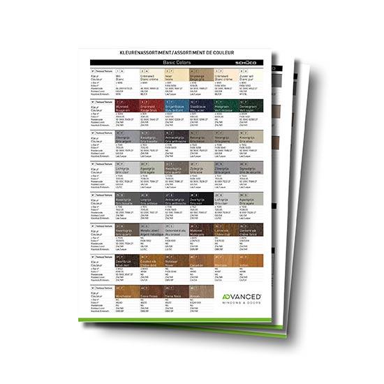 Technische Kaart kleuren PVC profielen